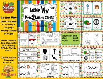 Letter Ww Language & Literacy Activity Center {COMMON CORE ALIGNED}
