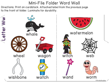 Letter Ww Mini-File Folder Word Wall Activity Pack