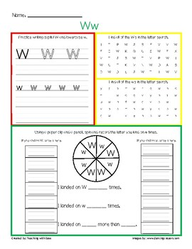 Letter Recognition Ww Practice