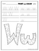 Letter Ww Printing and Pattern Coloring Worksheets