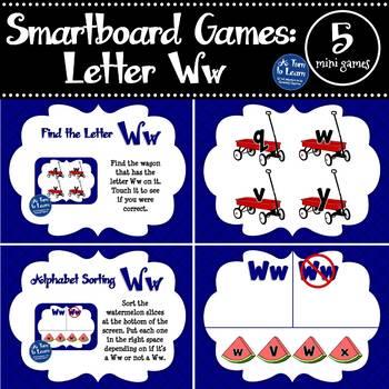 Letter Ww Smartboard Games (5 mini games) (Smartboard/Promethean Board)