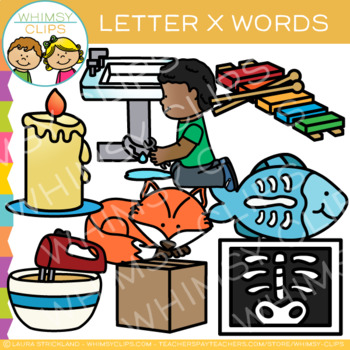 Letter X Clip Art {Alphabet Beginning Sounds Clip Art}