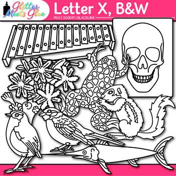 Letter X Alphabet Clip Art {Teach Phonics, Recognition, and Identification} B&W