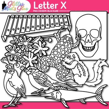 Letter X Alphabet Clip Art | Teach Phonics, Recognition, & Identification | B&W