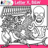 Letter X Alphabet Clip Art: Phonics, Letter Recognition B&W {Glitter Meets Glue}