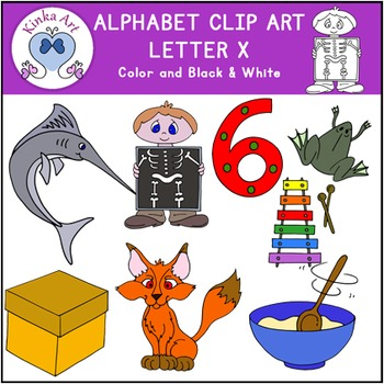 Letter X Clip Art {Beginning and Ending Sounds} Alphabet