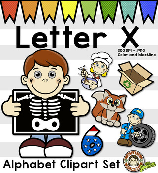 Alphabet Clip Art: Letter X Phonics Clipart Set - Clip Art