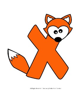 Letter X Craftivity - X - Fox - Zoo Phonics Inspired - Color & BW Versions