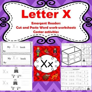 Letter X activities (emergent readers, word work worksheets, centers)