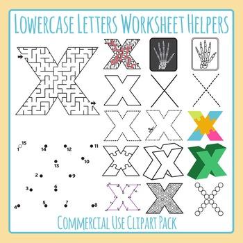 Letter X (Lowercase) Worksheet Helper Clip Art Set For Commercial Use