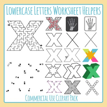 Letter X (Lowercase) Worksheet Helper Clip Art Set For Com