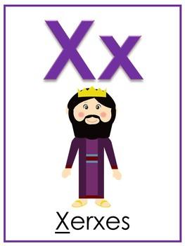Letter X Printable Bible Alphabet Poster. Preschool-Kindergarten Phonics.