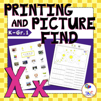Letter X Printing and Picture Find Printables | myABCdad Learning for Kids