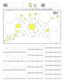 Letter Xx Printing and Picture Find Worksheets