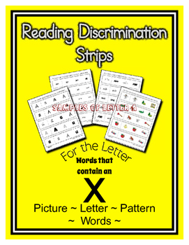 Letter X Reading Discrimination Strips for Fluency and Rec