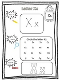 "Letter ""X"" Trace it, Find it, Color it.  Preschool printable worksheet. Daycare."