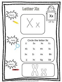 Letter X Trace It Find It Color It Preschool Printable Worksheet Daycare