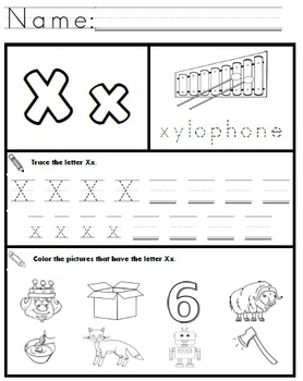 letter x worksheets by kindergarten swag teachers pay teachers. Black Bedroom Furniture Sets. Home Design Ideas