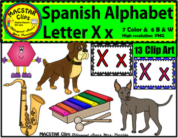 Letter X x Spanish Alphabet Clip Art   Letra Xx Personal and Commercial Use