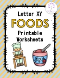 Letter XY Foods Printable Worksheets