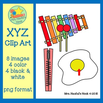 Letter X,Y and Z Alphabet Clip Art