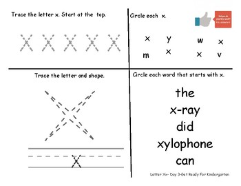 Letter Xx- A Week of Pre-K Practice Activities