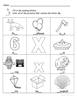 Letter Xx Words Coloring Worksheet