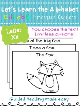 Letter Xx *Editable* Alphabet Emergent Reader