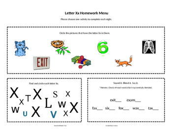 Letter Xx Homework Menu
