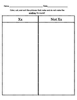 Letter Xx (ending) Sound Sort/Phonemic Awareness