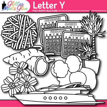 Letter Y Alphabet Clip Art {Teach Phonics, Recognition, and Identification} B&W