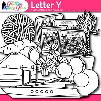 Letter Y Alphabet Clip Art | Teach Phonics, Recognition, & Identification | B&W