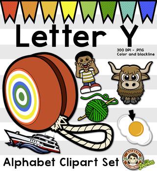 alphabet Clip Art: Letter Y Phonics Clipart Set - Clip Art