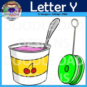 Letter Y Clip Art (Yoyo, Yell, Yolk, Yam, Yarn, Yogurt)