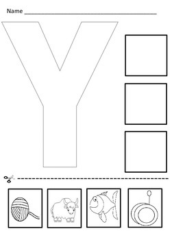 Letter Y Cut and Paste Worksheet