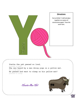 Letter Y Cutout Craft