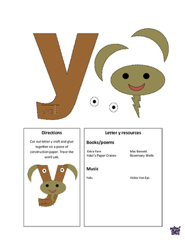 Letter Y Cutout Craft