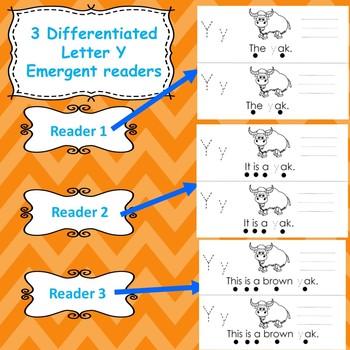 Letter Y activities (emergent readers, word work worksheets, centers)