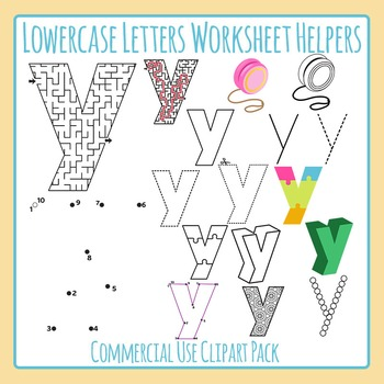 Letter Y (Lowercase) Worksheet Helper Clip Art Set For Commercial Use