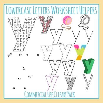 Letter Y (Lowercase) Worksheet Helper Clip Art Set For Com