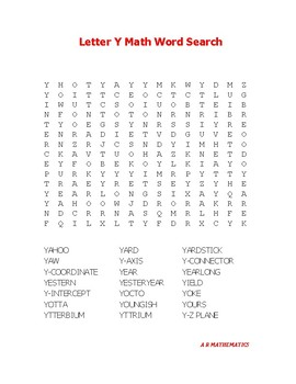 Letter Y Math Word Search