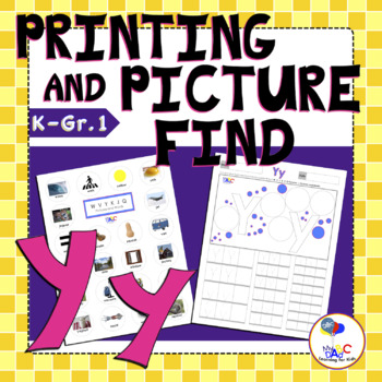 Letter Yy Printing and Picture Find Worksheets