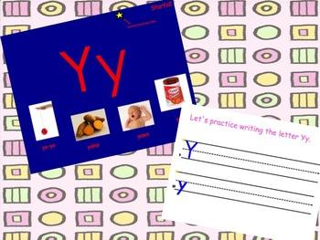 Letter Y Smartboard Slides