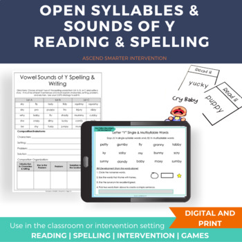Open Syllables and Sounds of Y Reading & Spelling Lesson INCLUDES DIGITAL