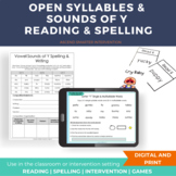 Open Syllables and Sounds of Y Reading & Spelling Lesson I