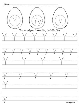 Letter Y Trace