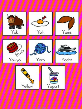 Letter Y Vocabulary Cards