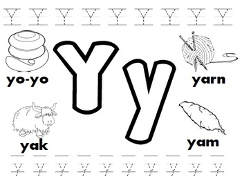 Letter Y Worksheet Kindergarten | Teachers Pay Teachers