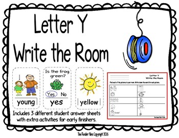 Letter Y Write the Room- Includes 3 levels of answer sheets