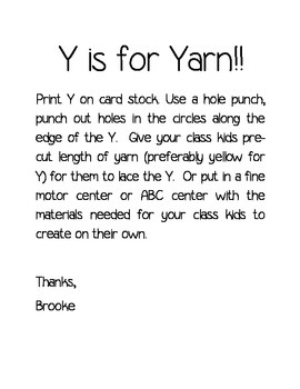 Letter Y is for Yarn